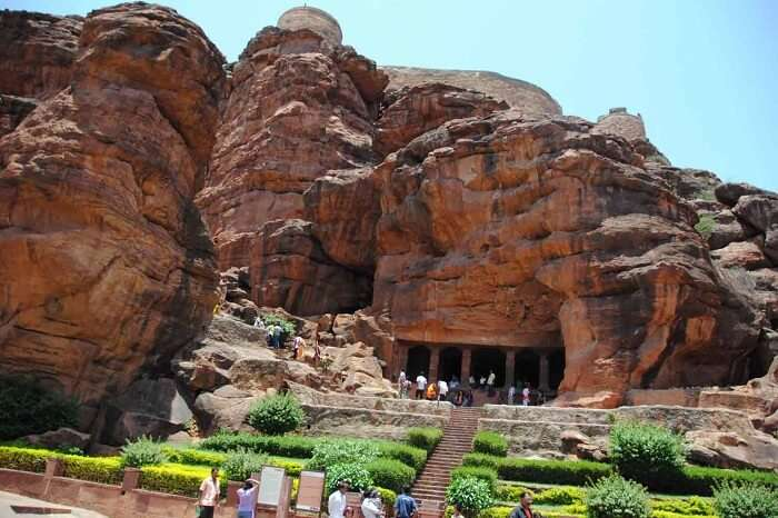 Tourists flock in large numbers to visit the famous Badami Caves