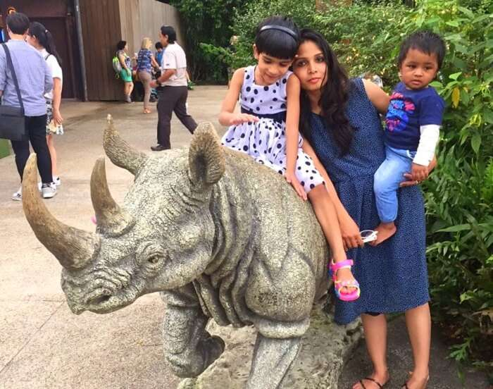 Govinds wife and children doing night safari