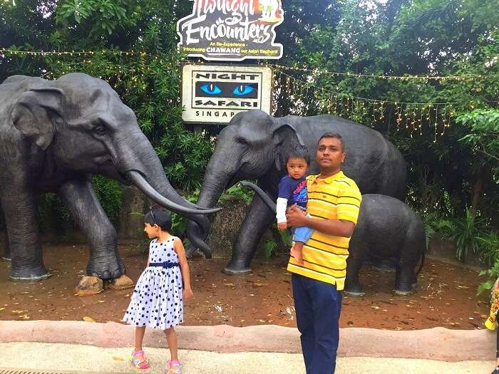 Govind and his children doing night safari