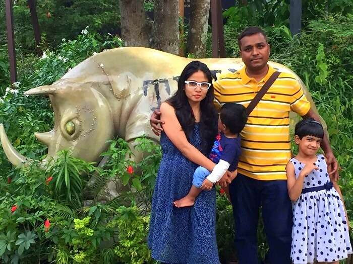Govind and his family enjoying the night safari in Singapore