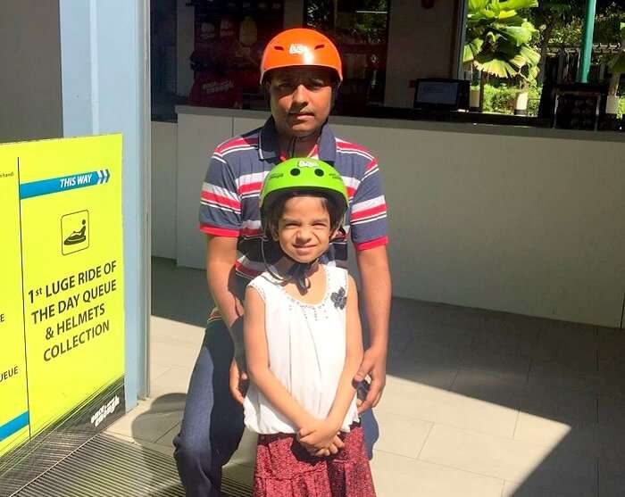 Govind and his kid at the sentosa island