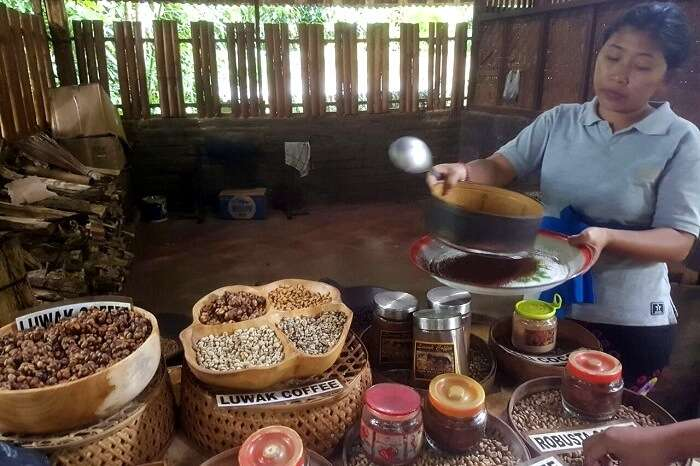 woman making coffee at a farm