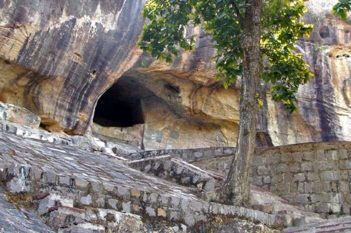The cave entrance to the Jogimara Cave in Chhattisgarh