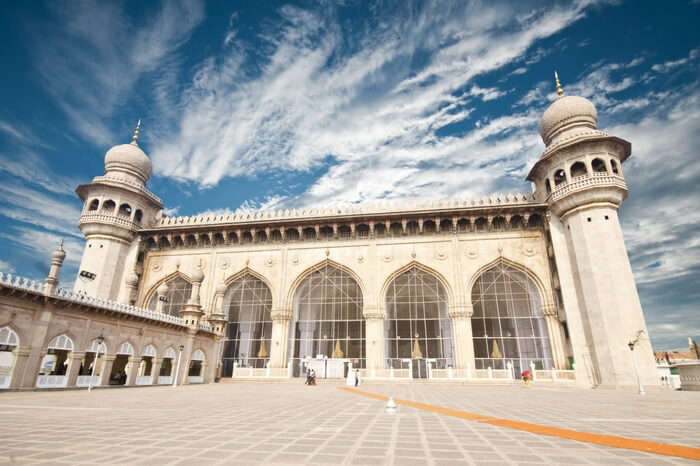 Glorious view of Mecca Masjid in Hyderabad on a bright day
