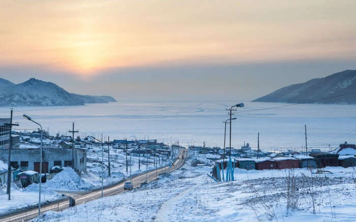 View of snow-covered Oymyakon Valley - which is one of the unique honeymoon spots