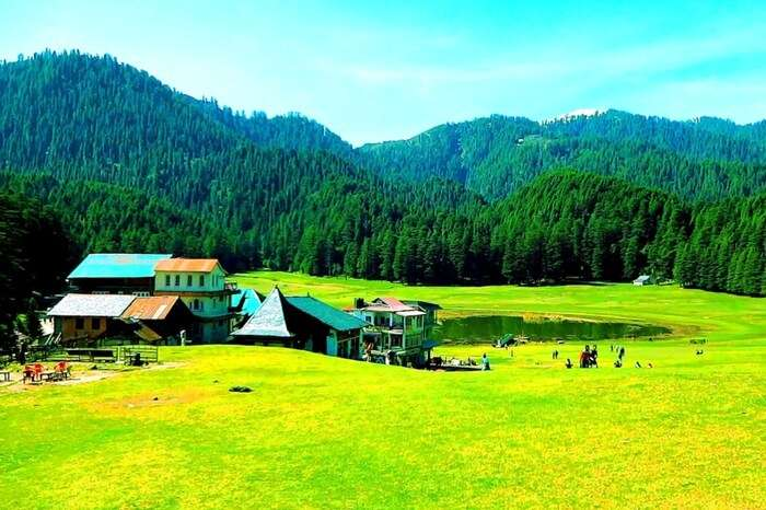 Paragliding base Khajjiar on a bright day