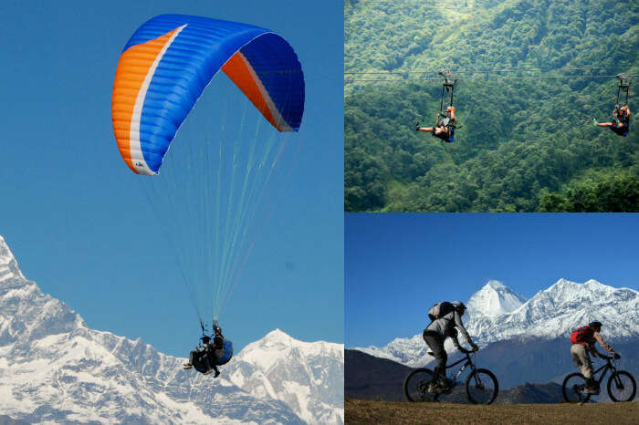 A collage of the adventurous activities offered in Pokhara