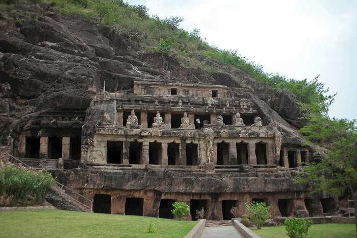 The rock-cut Undavalli Cave in Andhra Pradesh