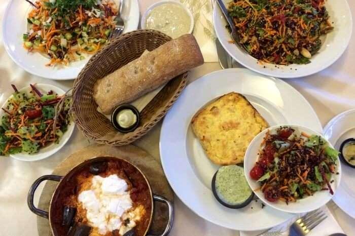 Vegan delicacies served at an organic restaurant in Tel Aviv