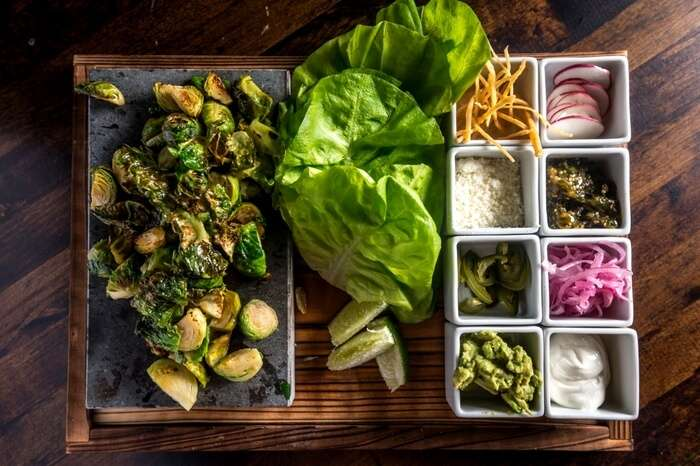 Food served at a vegan restaurant in New York