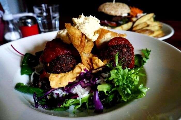 A platter of Falafel served in a platter in a restaurant in Glasgow