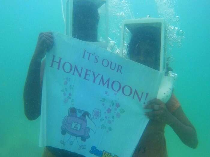Jegen and his wife doing the underwater sea walk in Koh Samui