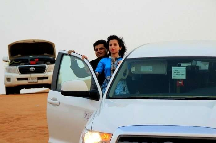 Parag and his wife take part in dune bashing in Dubai