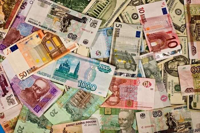 Bills of various international currencies that may be exchanged at a forex counter