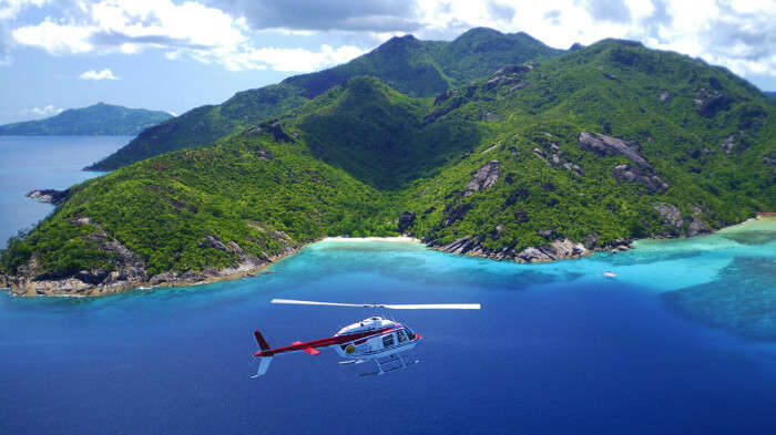 go on a helicopter tour in seychelles
