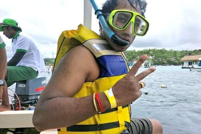 Man enjoying the snorkeling session