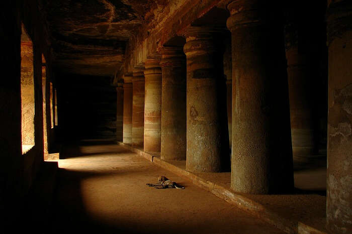 A dark alley inside the Bagh Caves in India