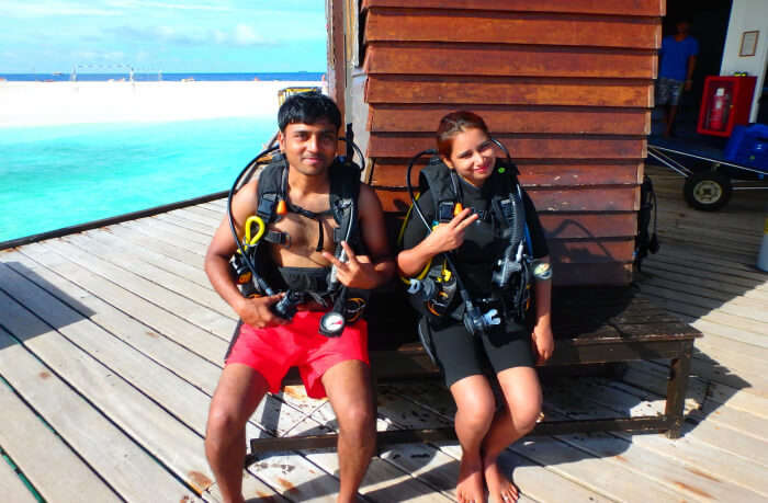 kishor & wife back in the boat after a marvelous session of scuba diving