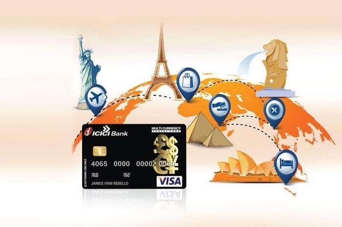 An ICICI ad for multi-currency card offering forex services for multiple destinations across the globe