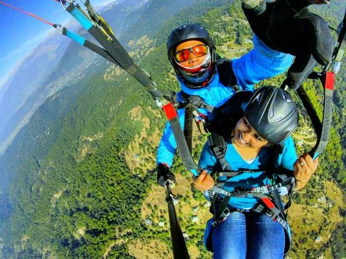 Radhika indulging in paragliding over Bir
