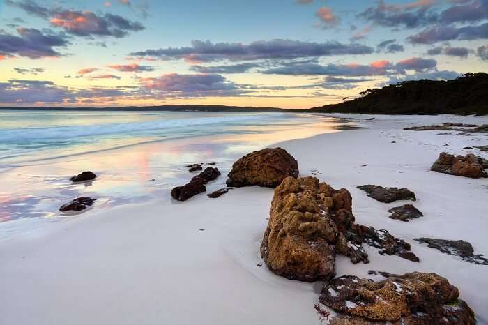 A snap of the Hyams Beach that is the whitest sand beach in the world