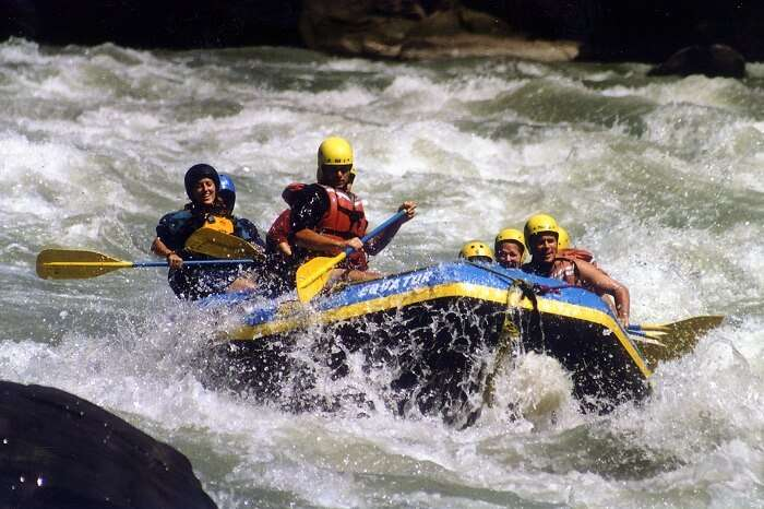 The white water rafting in the Sunkoshi river of Nepal