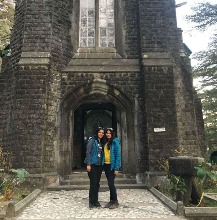 tejal and her friend at the church in mcleodganj