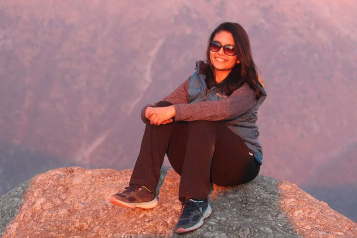 tejal viewing sunset form triund