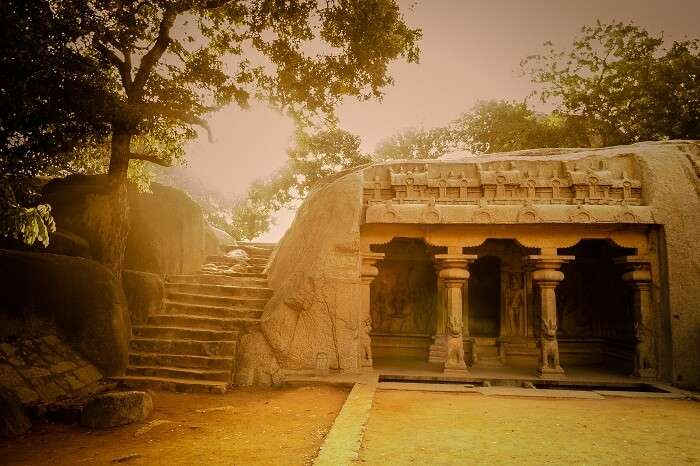 A beautiful snap of the sun-kissed Varaha Caves in Tamil Nadu