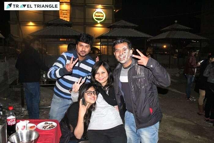 Travelers enjoying DJ night