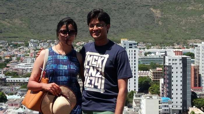 couple on honeymoon trip to Mauritius