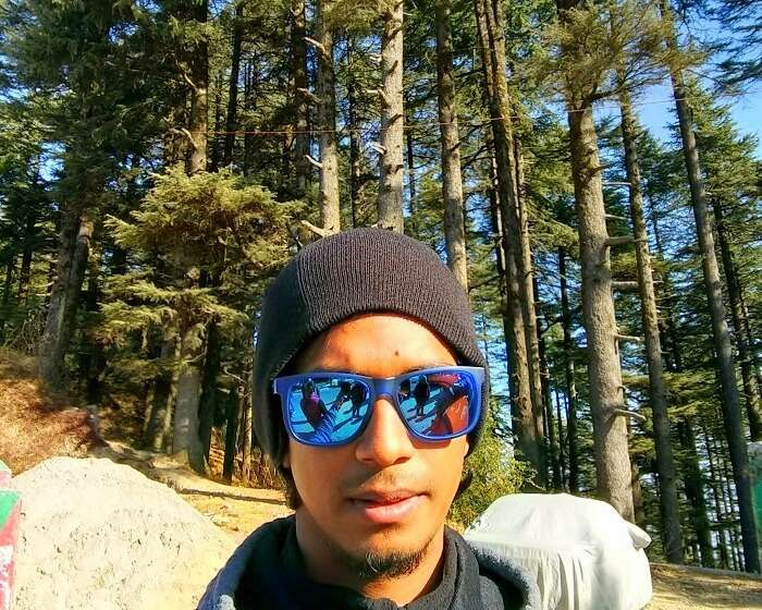 Rishabh takes a selfie in the woods