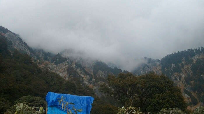 Triund Hill covered by mist