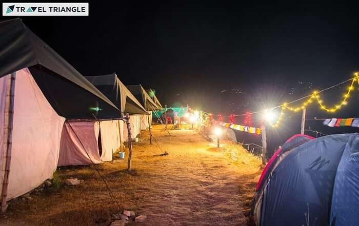 A shot of the campsite in Kanatal at night