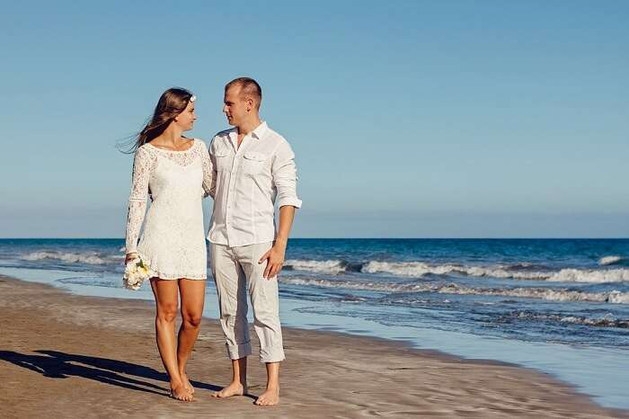 Honeymoon couple in Canary Island