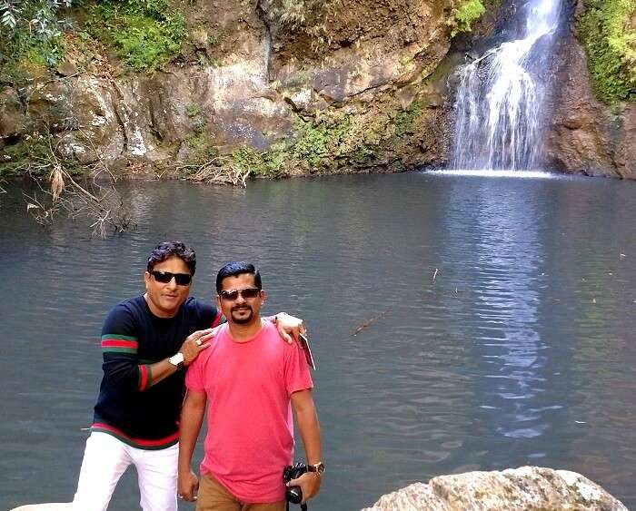 Sandeep with his friend at the Chamarel waterfall