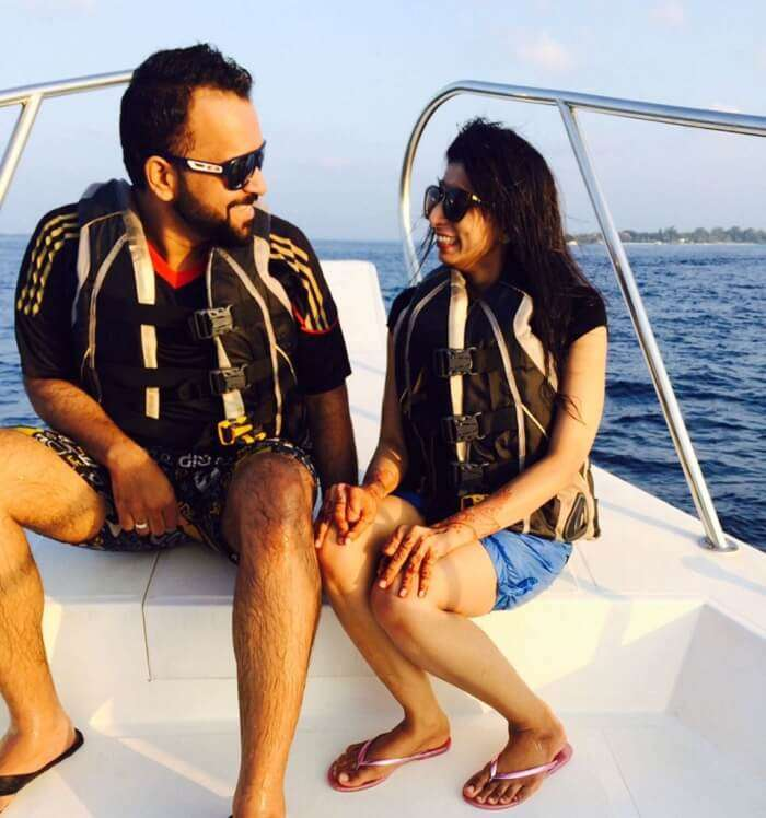 Mubashir and his wife on the sunset cruise in Maldives