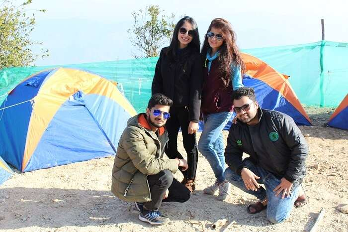 Travelers at camp Living Kanatal in Kanatal