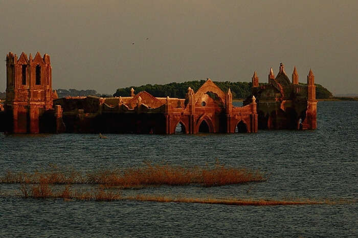 Partially submerged Shettihalli Rosary Church in Karnataka
