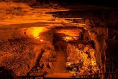Well lit interiors of Belum Caves in Andhra Pradesh