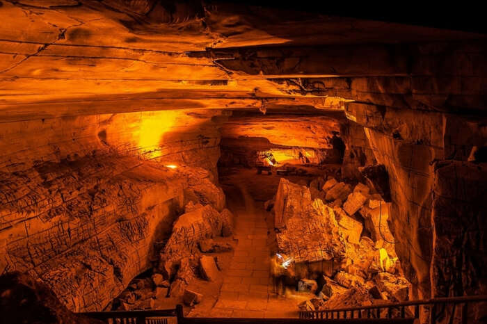 Well lit interiors of Belum Caves in Andhra Pradesh