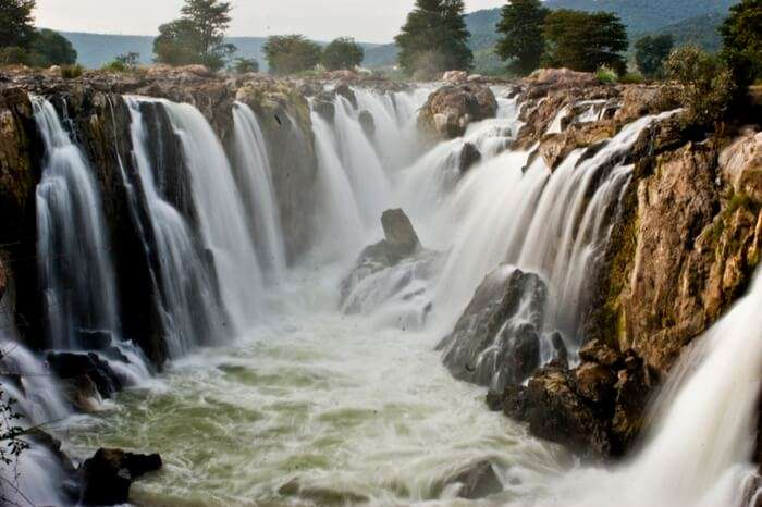Water cascading from Hogenakkal Falls in Tamilnadu