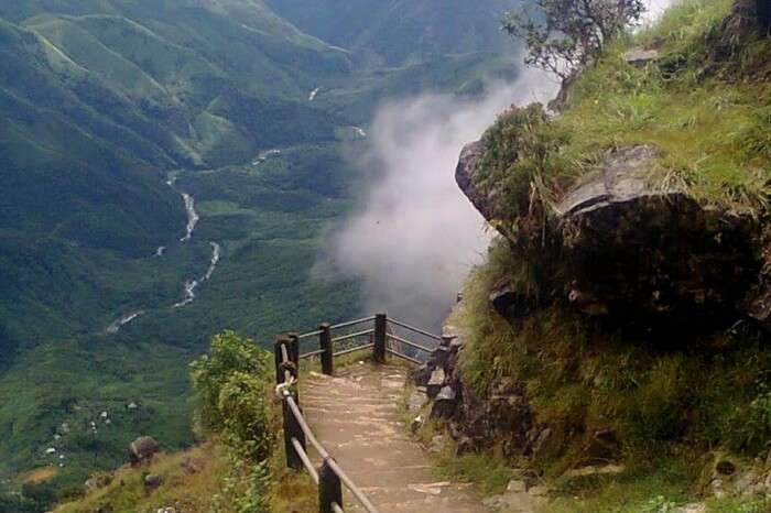 Clouds floating around the Laitlum Canyon in Meghalaya
