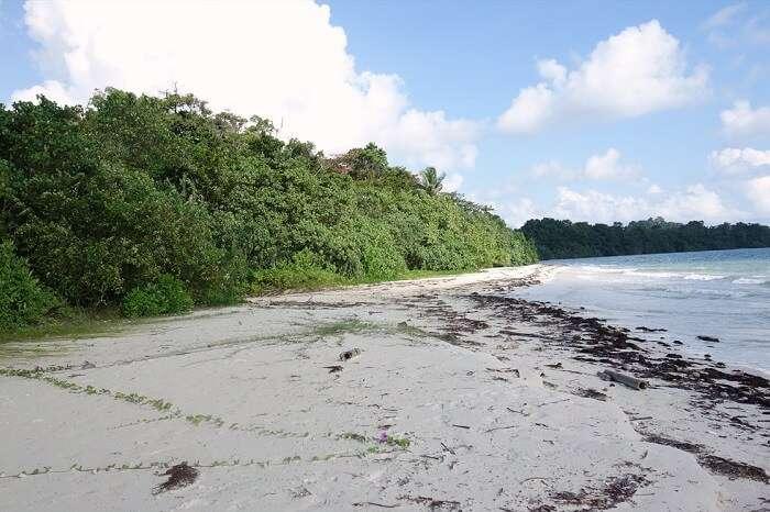 The stunning Merk Bay Beach on the Baratang island of Andaman
