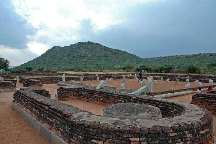 An excavated site of Nagarjunakonda in Andhra Pradesh