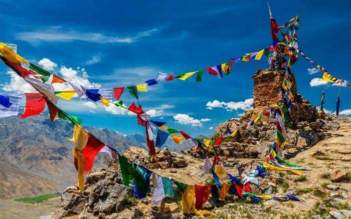 Buddhist prayer flags in Spiti