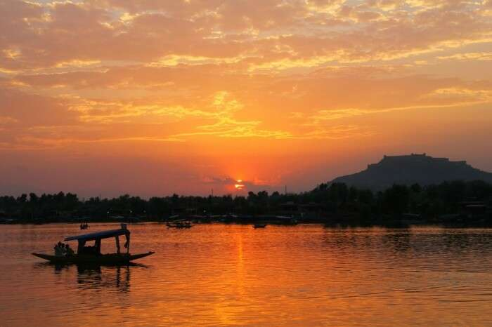 A picturesque Dal Lake at sunset in Kashmir