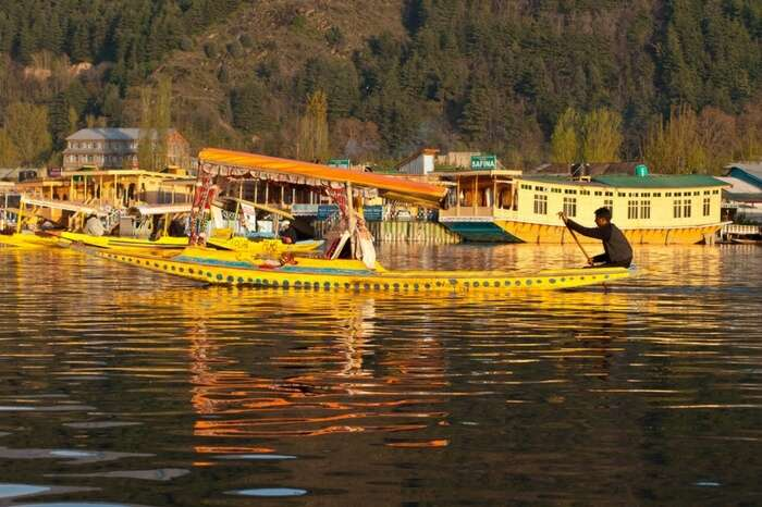 A boat in the Dal Lake in Kashmir
