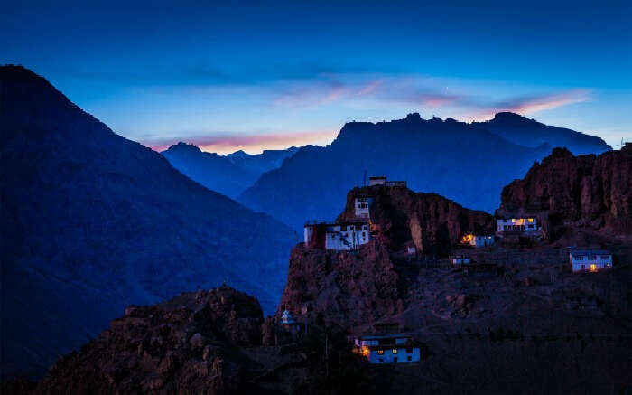 View of Spiti Valley during twilight