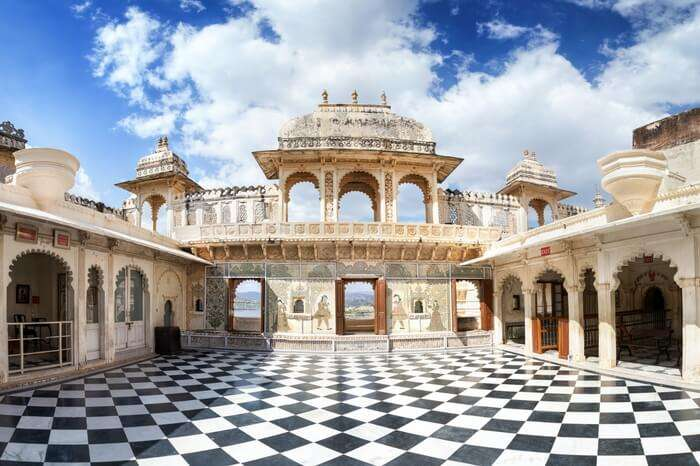 Courtyard of City Palace Museum in Udaipur